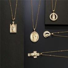 Cor do ouro cruz de cobre virgem maria pingente colar para mulheres masculino 11 estilo zircônia cúbico jóias cristãs femme bijoux