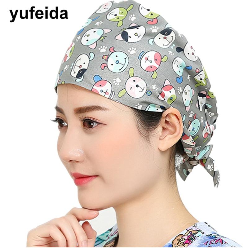 Women Doctor Nurse Printing Surgical Scrub Cap Adjustable Medical Caps Hospital Scrub Lab Dental Operation Hat Doctor Nurse Caps
