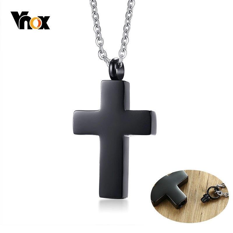 Vnox Edelstahl Christian Kreuz Halskette Öffnende Feuerbestattung Urne Asche Anhänger Halsketten Memorial Andenken Gebet Schmuck