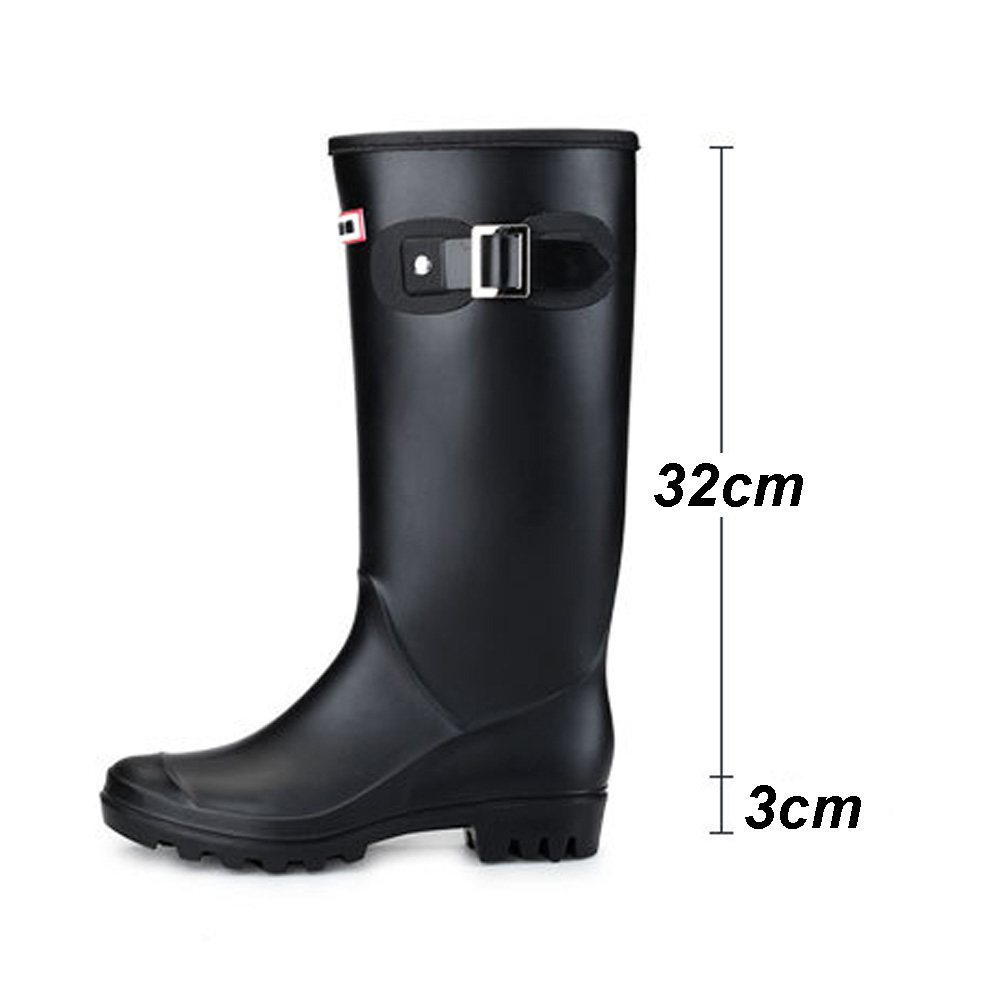 Image 5 - Women High Warm Lined Rain Boots Winter Anti slip Waterproof Insulated Buckles Pull on Cold Weather Oil Resistant Wellington-in Mid-Calf Boots from Shoes