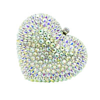 Double Flower Dazzling Silver AB Women Crystal Heart Evening Clutch Handbags and Purses Ladies Wedding Hand Bags