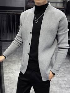 Cardigan Men Clothing Korean Autumn Casual New Fashion Button-Decor Front-Pocket Loose