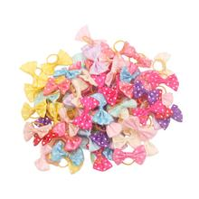 50pcs/lot Polka Dots Dog Bows Long Hair Puppies Dogs Pet Grooming Accessories Products Wholesale noeud pour chien