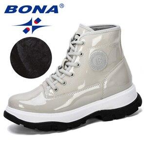 Image 1 - BONA 2019 חדש מעצב אופנה נעלי נשים חורף מגפי אלסטית פטנט עור קרסול מגפי גבירותיי עקב נמוך מגפי נעליים סקסיות