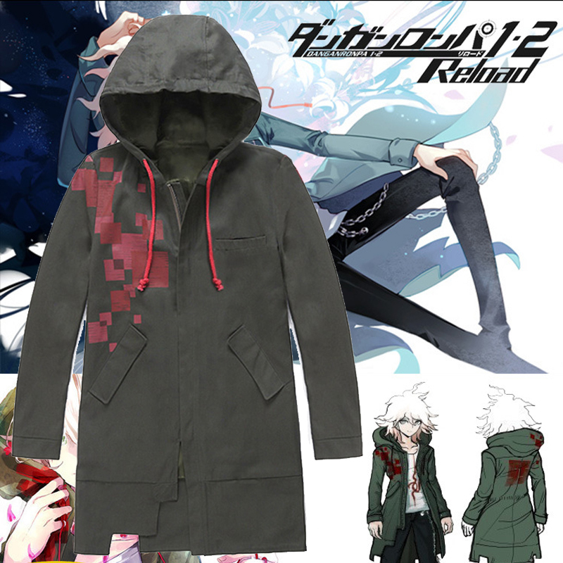 Super Danganronpa 2 Komaeda Nagito Jacket Hoodies Army Green Color Coat Cosplay Costume Cos Trench