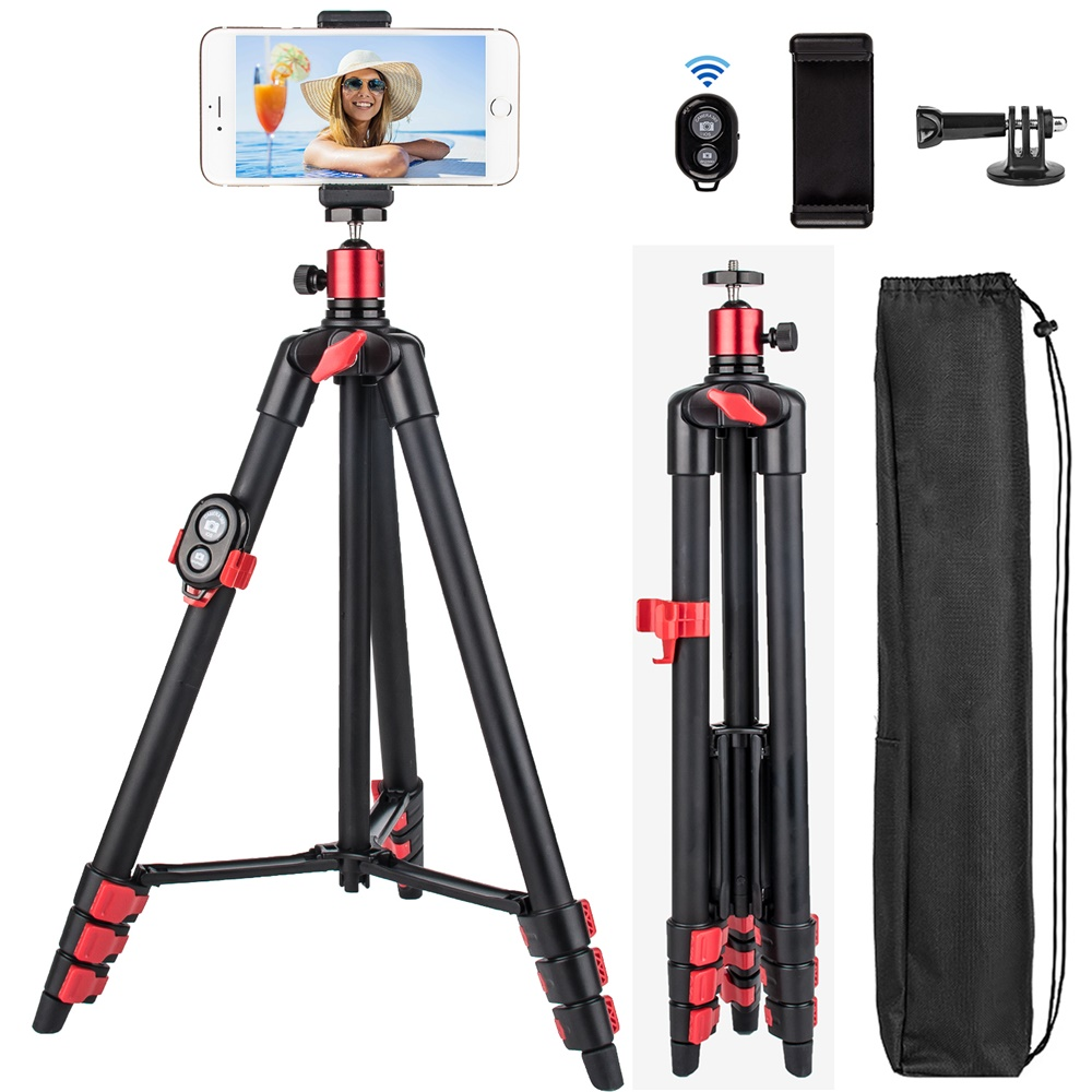 Phone Tripod 55inch Portable Travel Tripod For Mobile Phone IPhone HUAWEI Video Camera With Bluetooth Remote Cellphone Holder