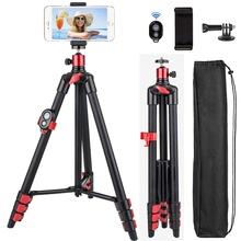 Trípode portátil de viaje para teléfono móvil, 55 pulgadas, para iPhone, HUAWEI, cámara de vídeo con Bluetooth, soporte remoto para teléfono móvil