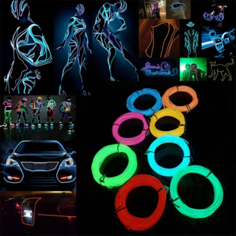 Neon Light 6mm Sewing Edge EL Wire Led Dance Party Decor Car Lights Neon LED lamp Flexible 3MM Rope Tube LED Strip HVR88