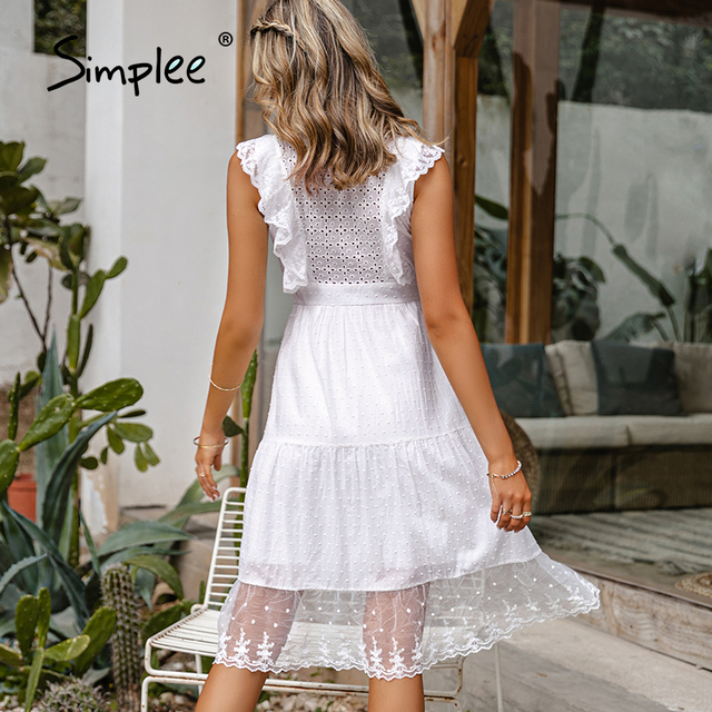 Simple Elegant ruffle lace white dress 5
