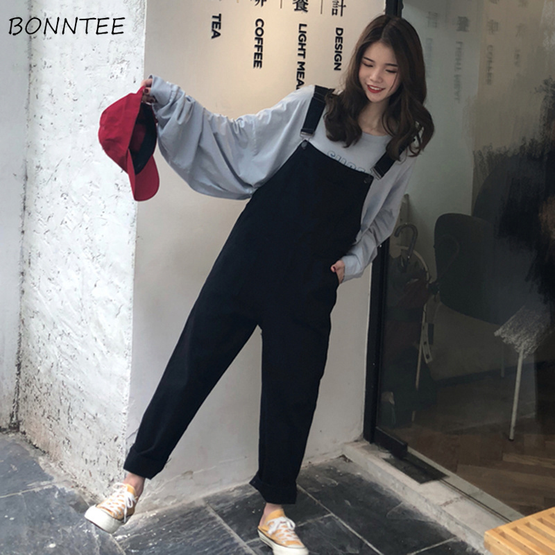 Jumpsuits Women Retro Simple All-match Pockets Korean Style Female Ankle-Length Trendy Womens Students Jumpsuit Leisure Loose