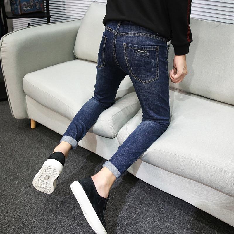 Jeans Men's Skinny Pants Elasticity Tight Youth Fashion 2018 Autumn New Style Korean-style MEN'S Denim Trousers Fashion