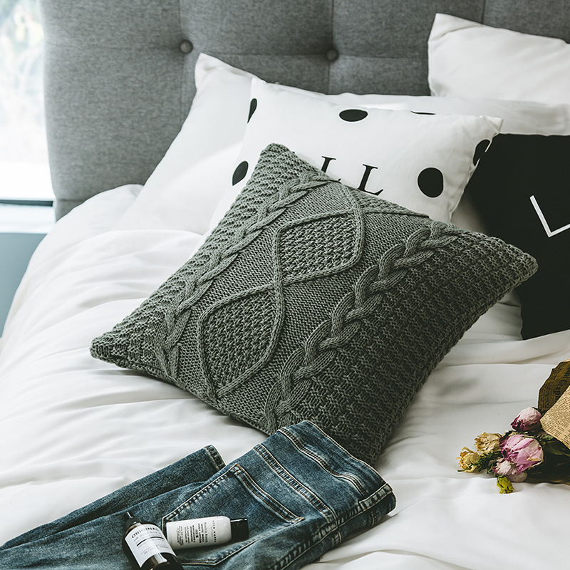 Lattice Knitting Pillow Cover Morden Simple Vintage Breathable Soft Back Cushion Cover Home Sofa Bedroom Car Decorations 1 PC in Cushion Cover from Home Garden