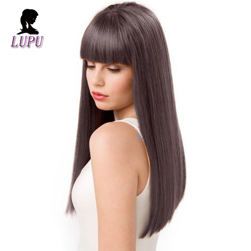 LUPU 22 Inch Long Straight Brown Wig Natural Fake Hair With Bangs Heat Resistant For Black Women African American