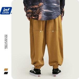 Image 2 - インフレデザイン男性ワイドレッグジョガーパンツ秋メンズバギーパンツルーズフィットストリート男性緩い貨物パンツ 93447 ワット
