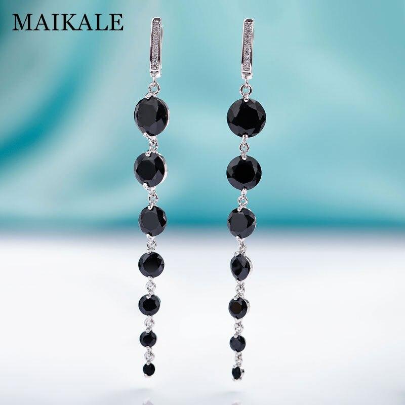 MAIKALE New Fashion Round CZ Zirconia Long Earrings For Women Rose Gold Fine Jewelry Tassel Black Dangle Earrings To Gift