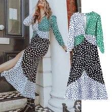 2019 autumn France romantic vintage patchwork floral vneck party dress women vestidos de fiesta noche maxi