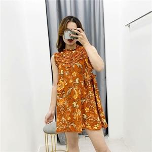 Image 3 - Винтажное шикарное женское пляжное богемное мини платье с цветочным принтом и оборками, женское платье без рукавов из искусственного хлопка в стиле бохо, платья