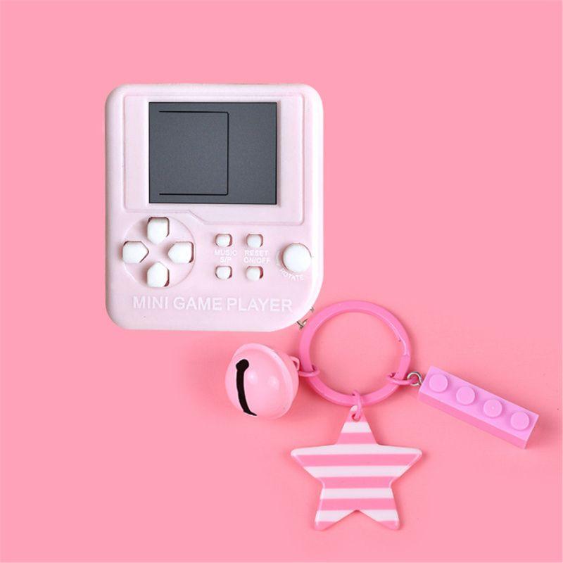 Warm Color Mini Tetris Children Handheld Game Console Gift Key Chain Pendent 72XC
