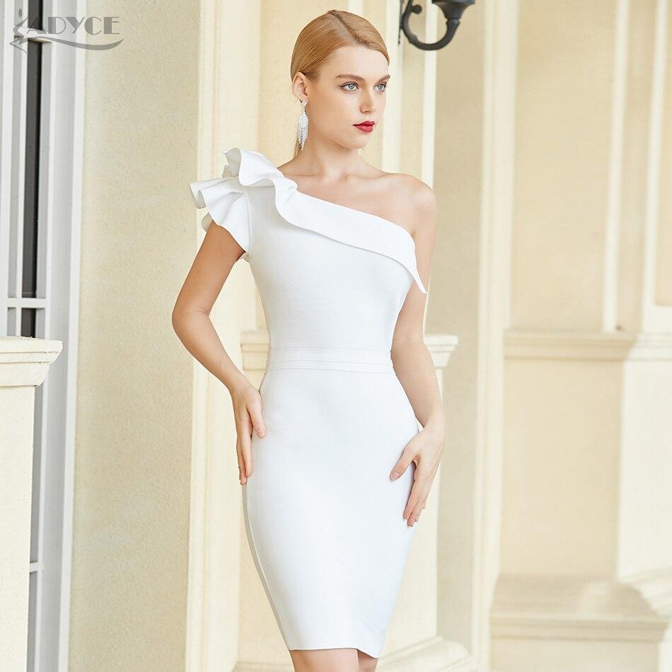 Adyce 2021 yeni yaz bir omuz Ruffles Bodycon bandaj elbise kadınlar seksi kolsuz ünlü pist kulübü parti elbise Vestido