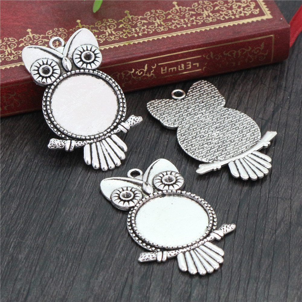 5pcs 20mm Inner Size Antique Silver Plated Classic Style Cabochon Base Setting Charms Pendant (D2-21)