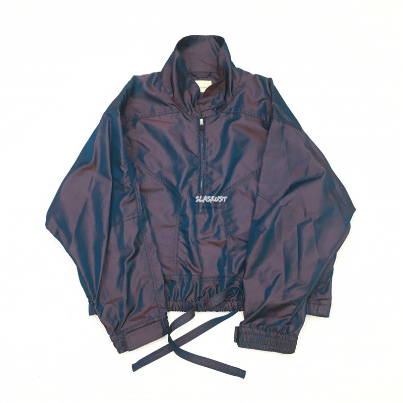 Best Version Panelled Iridescent Nylon Jacket Drawstring At Hem Relaxed Fit Pullover Track Jackets