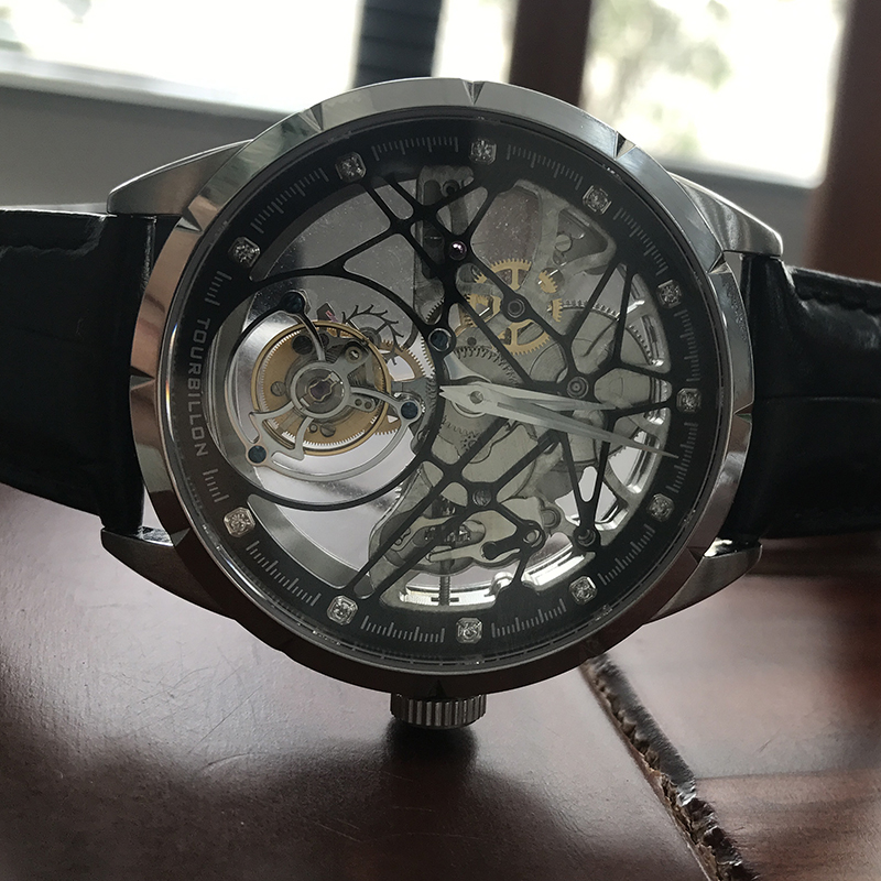 Image 2 - Super New Model GUANQIN Original Tourbillon business men watch top brand luxury Skeleton Sapphire  clock men Relogio Masculino-in Mechanical Watches from Watches