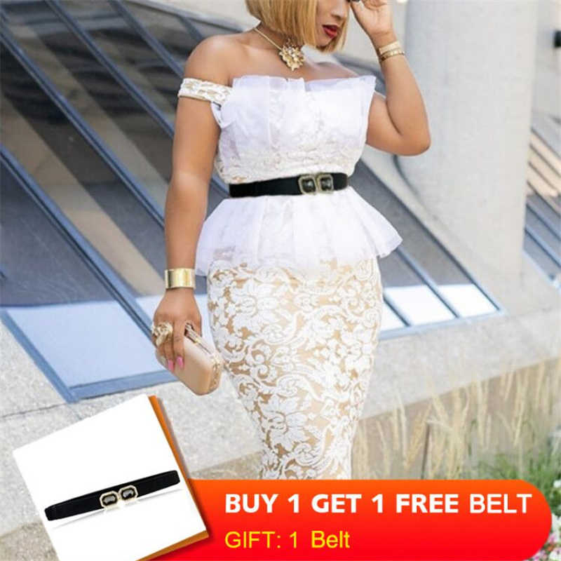 Kerst Party Dress Lace Mesh Patchwork Sexy Off Schouder Met Taille Riem Vrouwen Vestido Bodycon Backless Vieren Event Gewaden