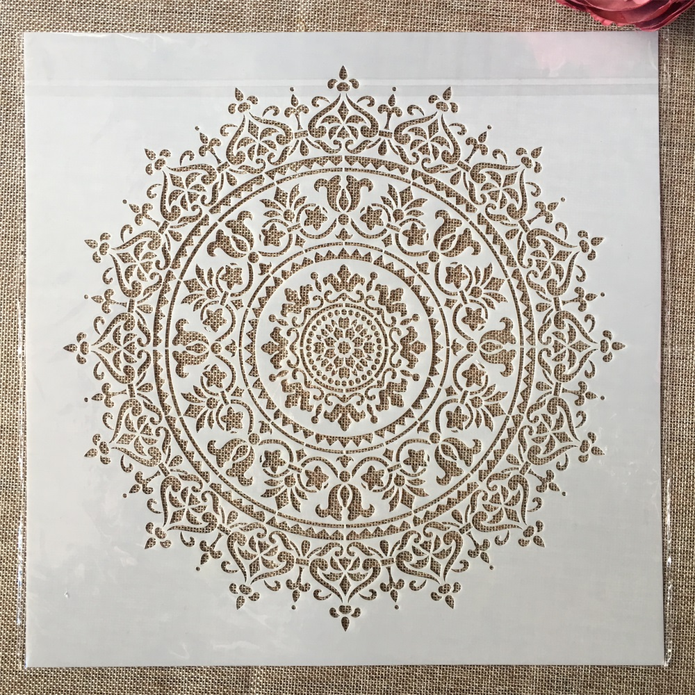 12*12inch Big Geometry Mandala Round DIY Layering Stencils Painting Scrapbook Coloring Embossing Album Decorative Template