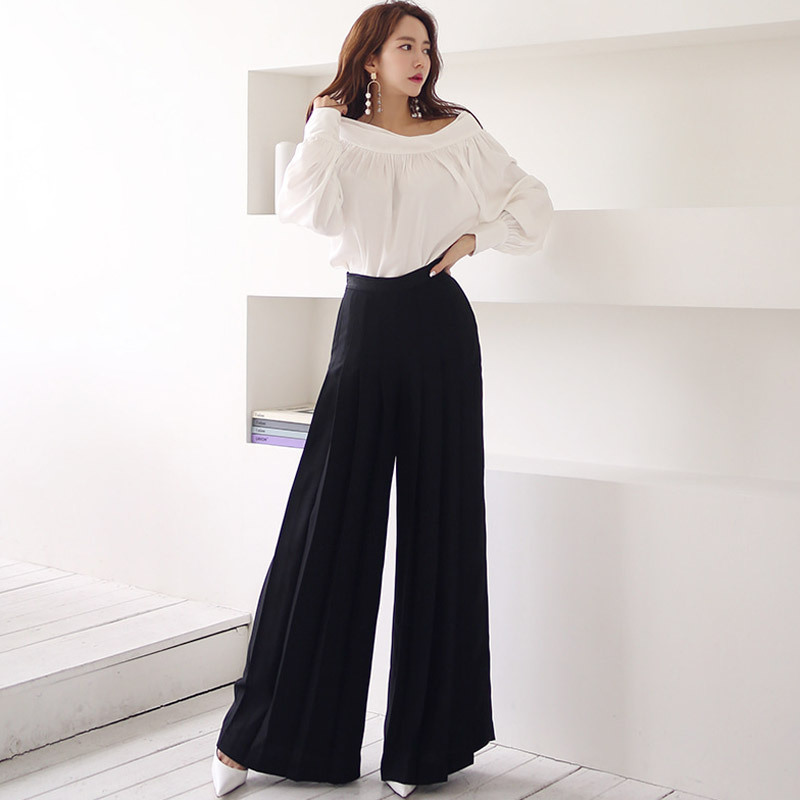 WOMEN'S Suit 2019 Autumn New Products Horizontal Neck Pleated Shirt High-waisted Loose Pants Slimming Trousers Two-Piece Set