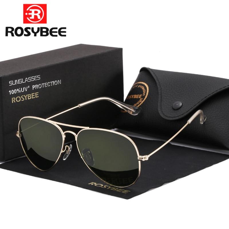 High Quality G15 Glass Lens women men Sunglasses uv400 aviation brand classic mirror male oculos vintage banned man sun Glasses(China)