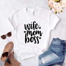 Mãe esposa Patrão Letras Imprimir Mulheres camiseta Casual camisa Engraçada de t Para Senhora Menina Top T engraçado camiseta mulheres streetwear 90s