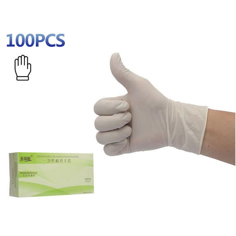 100Pcs Disposable Latex Gloves Anti-skid Acid-base Laboratory Rubber Gloves For Medical House Industrial Use Household Cleaning