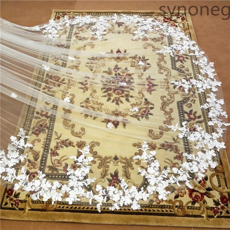 New 1 Layer 3M White//ivory handmade lace Edge Applique Bridal Wedding dress Veil