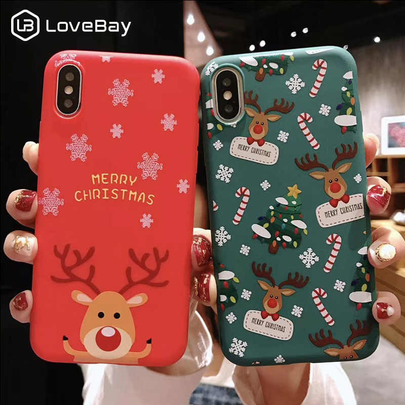 Lovebay Christmas Phone Cases For iPhone 7 XR 11 Pro Elk Santa Claus Flowers For iPhone 6 6s 8 Plus X XS Max Soft TPU Back Cover