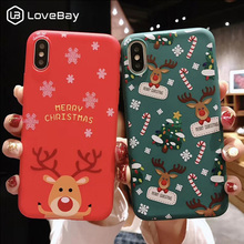 Lovebay Christmas Phone Cases For iPhone 7 XR 11 Pro Elk Santa Claus Flowers 6 6s 8 Plus X XS Max Soft TPU Back Cover
