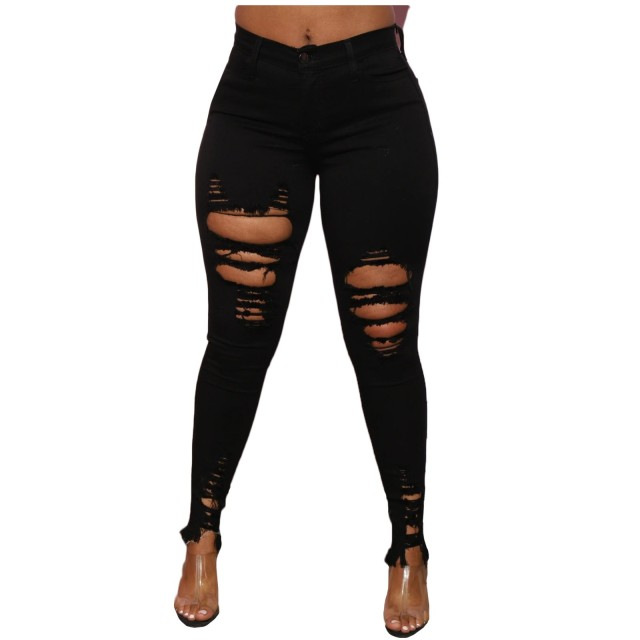 New Black White Stretch Ripped Jeans Skinny Jeans Women Denim Pants Holes Destroyed Knee Pencil Pants Casual Trousers 2
