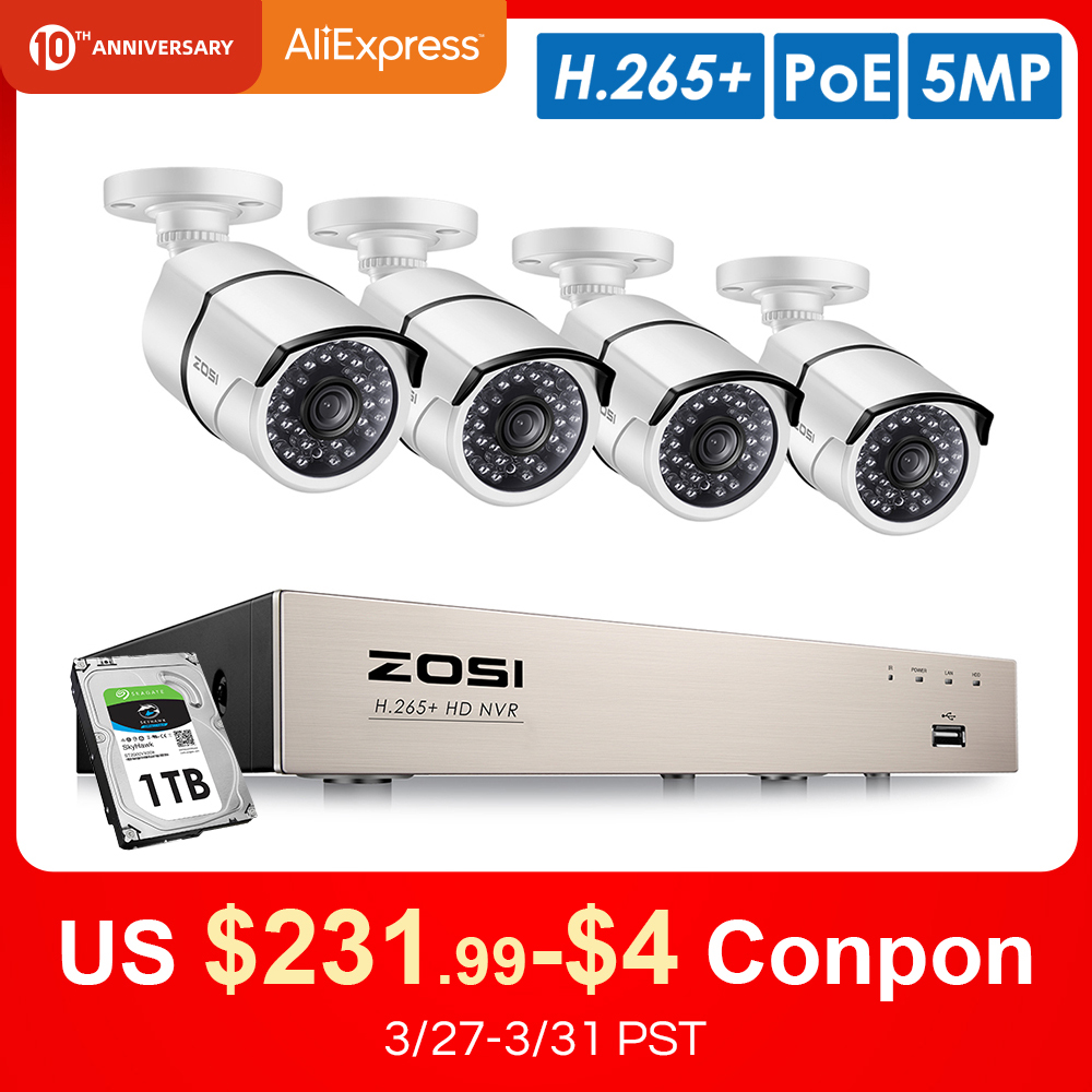 ZOSI H.265+ 8CH 5MP POE Security Camera System Kit 4PCS 5MP HD IP Camera Outdoor Waterproof CCTV Video Surveillance NVR Set 1TB