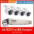 ZOSI H.265 + 8CH 5MP POE sistema de cámaras de seguridad Kit 4 Uds 5MP HD IP Cámara al aire libre impermeable vídeo CCTV Vigilancia Conjunto NVR 1TB|Sistema de vigilancia| |  -