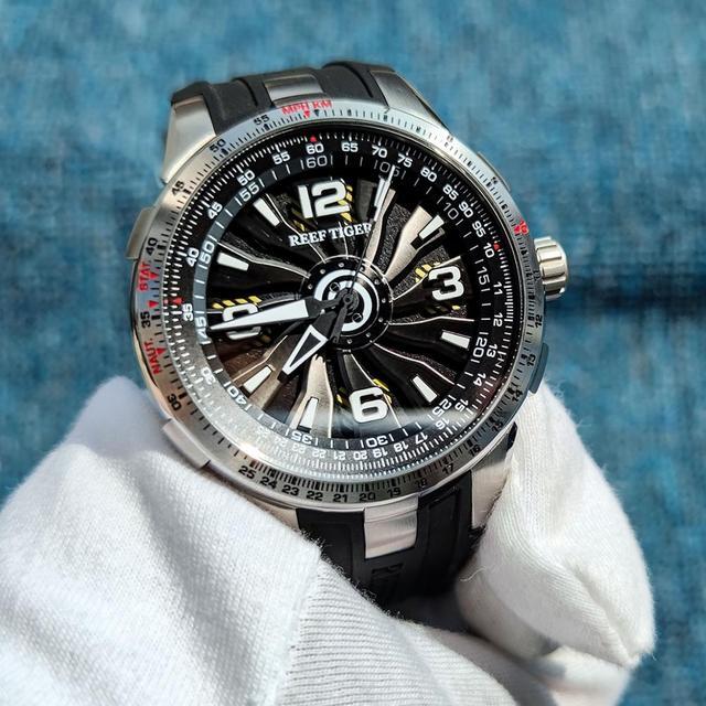 Montres militaires Reef Tiger/RT pour hommes, en acier automatique, bracelet en caoutchouc, cadran tournant, montre de Sport RGA3059, nouveau