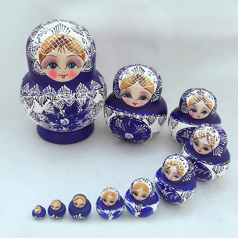 10Pcs/Set Russian Nesting Dolls Matryoshka Wooden Handmade Toy Craft Home Decor