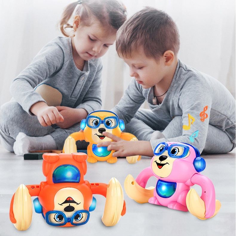 Banana Rolling Monkey Baby Toys Electric Flipping Monkey Light Music Children Animal Model Voice Control Induction Cartoon