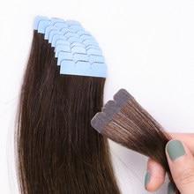 MRSHAIR 3x0.8 pouces Mini bande dans les cheveux 100% Extensions de cheveux humains Micro Interface Double face colle adhésive sans couture brun blond