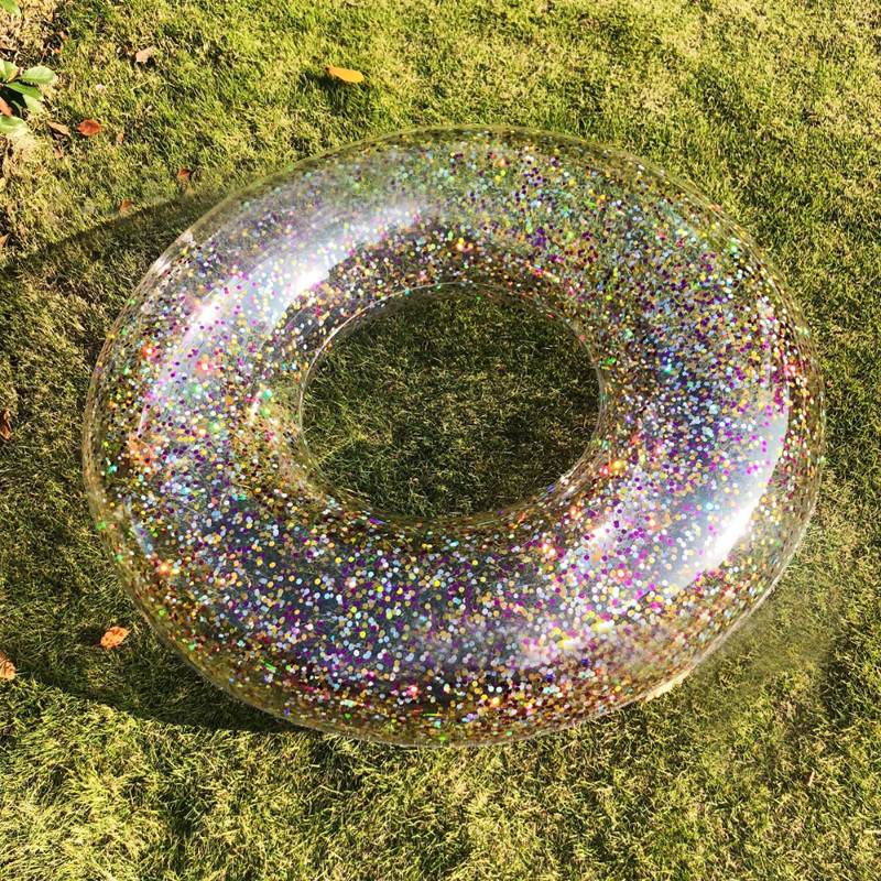 90CM/120CM Inflatable Holographic Glitter Swimming Ring In Gold Sequins Swim Circle Raft For Beach Fun Water Party Toy INS Boia