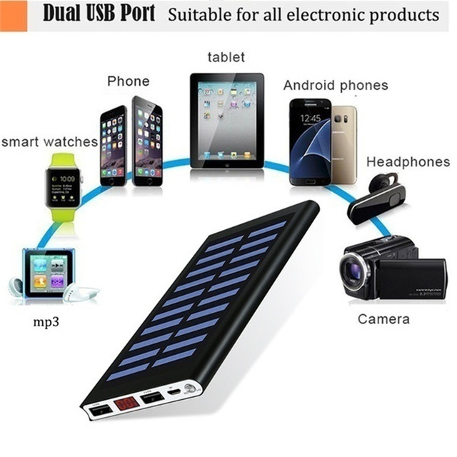 30000mAh Power Bank Solar Ultra High Capacity External Ultra Thin 9mm Charger for Mobile Phone for Outdoors/camping/explore 6