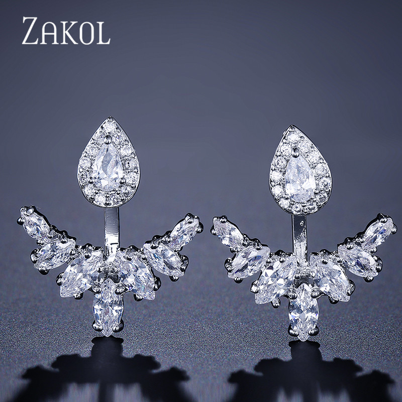 ZAKOL Unique Teardrop Cubic Zircon Earrings Jackets Trendy White Color Wings Earrings For Charm Women Girl Jewelry FSEP396