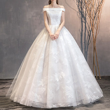 Свадебное Платье 2020 Off-Плечу Кружева Пол-Длина Листьев Повязки Мода Элегантный Простой Свадебное Платье Для Женщин