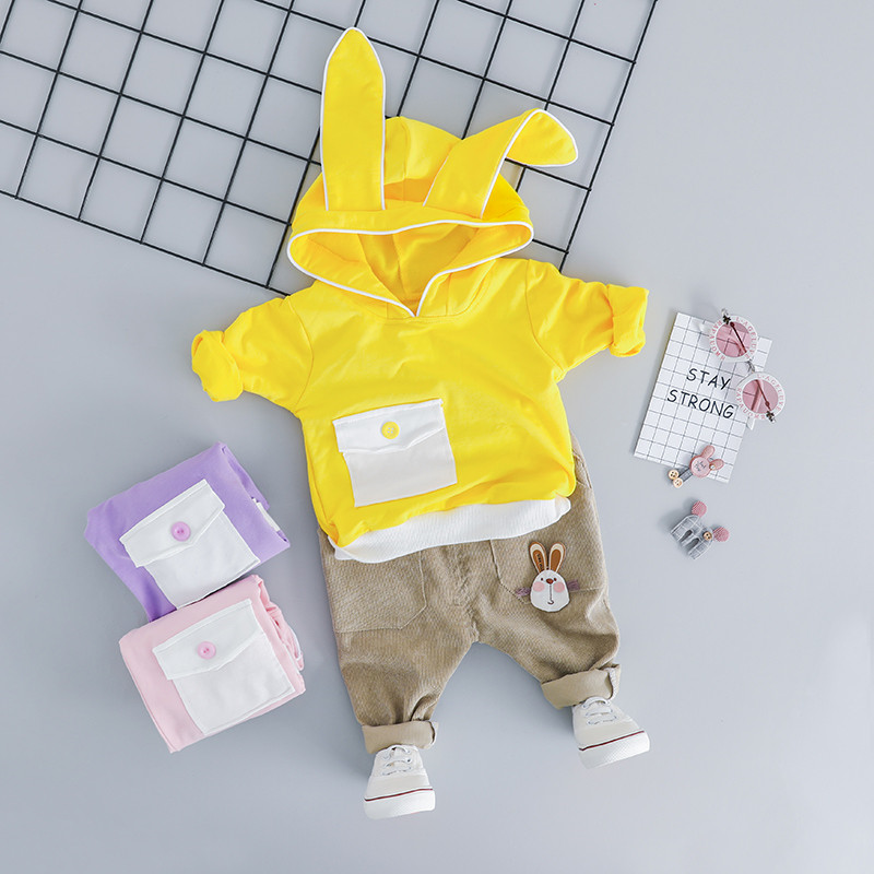 Spring Autumn Baby Boy Girl Clothes Outfits Cartoon Rabbit Ear Tops With Pants Costume Set infant baby Clothing Birthday Suit