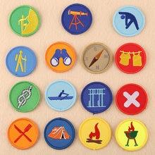Os desenhos animados redondos boy scout bordado logotipo personalizado crianças acessórios de roupas para trás cola remendo roupas bonito patchs para diy