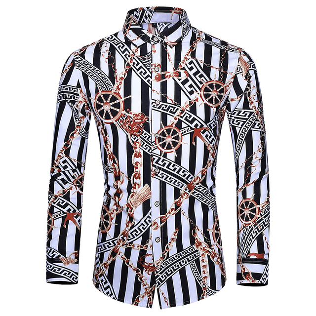2019 automne hommes chemise mode Unique Design chemise rayé imprimé à manches longues chemise hommes Slim Fit décontracté bureau chemise hommes M-5XL