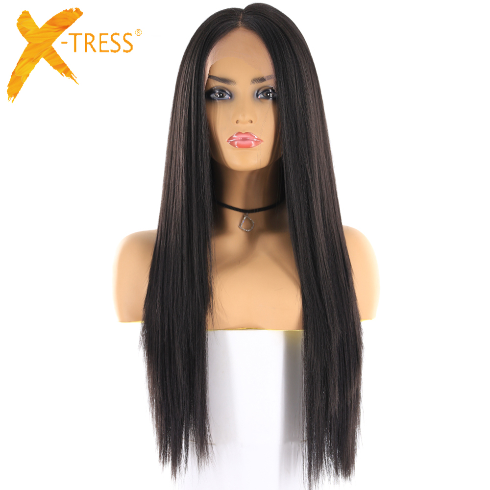 X-TRESS Wigs Lace-Wig Synthetic-Hair Ombre Yaki Middle-Part Black Color Natural Straight